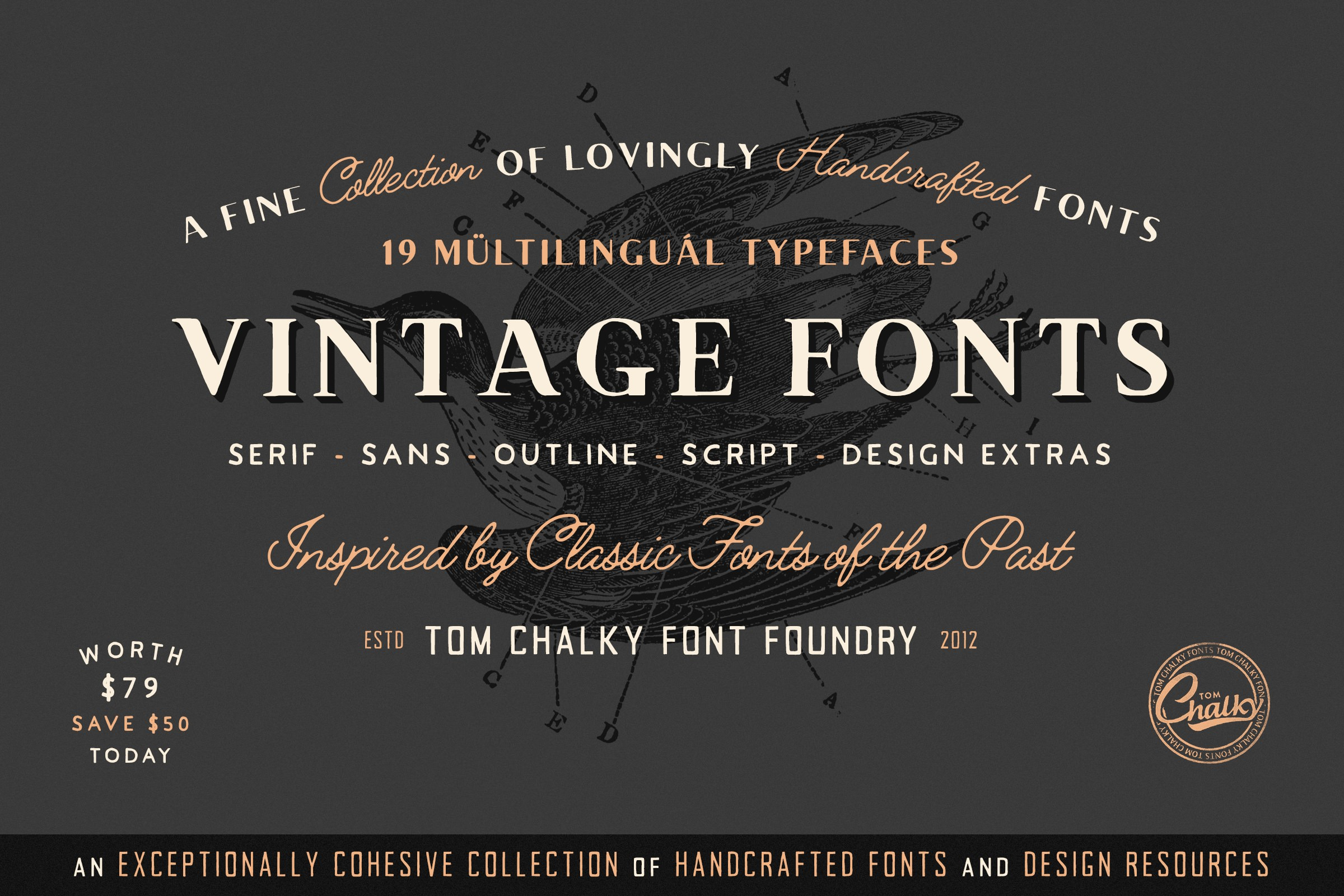 Download Vintage Fonts Pack - Tom Chalky
