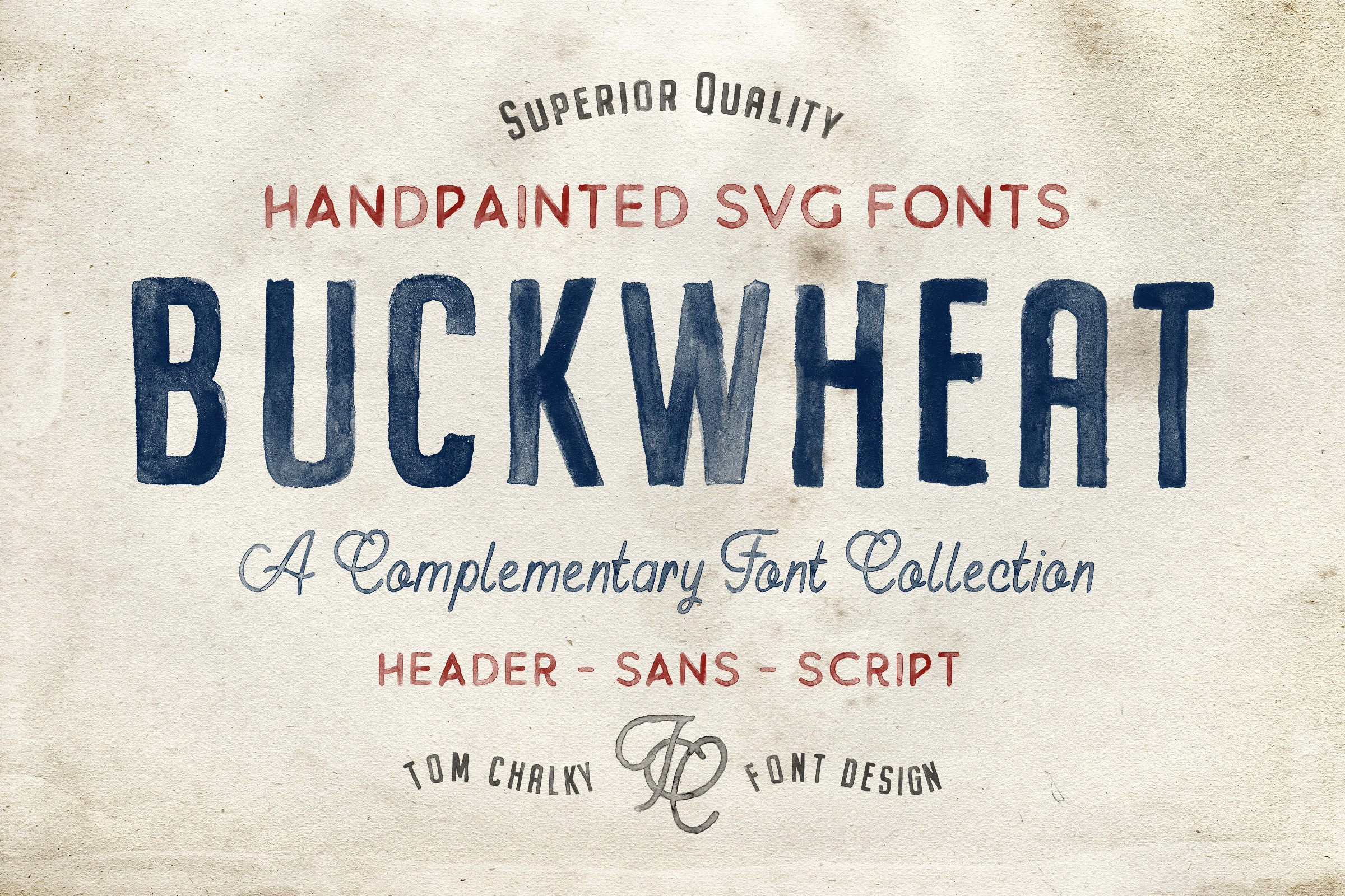 Buckwheat opentype svg fonts collection tom chalky