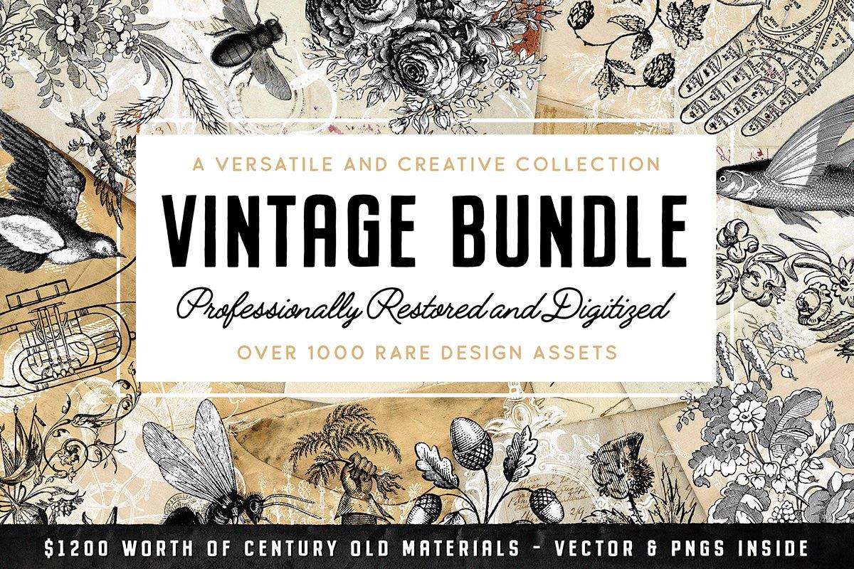 47d66f44e6 The Vintage Graphics Design Bundle (PLUS Bonus!) - Tom Chalky